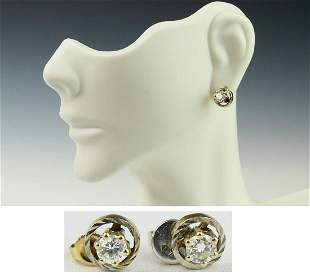 LOVELY PAIR OF 14KT YGOLD DIAMOND STUDS