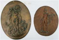 2 ANTIQUE BRASS  COPPER RELIEF WALL PLAQUES