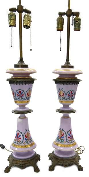 Pr BOHEMIAN ART NOUVEAU LAVENDER GLASS LAMPS