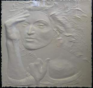 LARGE EMBOSSED PAPER OF WOMAN IN LUCITE CASE