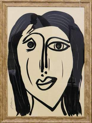 PETER KEIL USA b1942 ACRYLIC ON PAPER OF FACE
