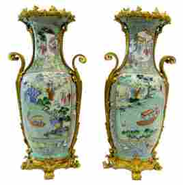 Pr IMPORTANT DORE BRONZE MOUNTED FAMILLE ROSE VASES