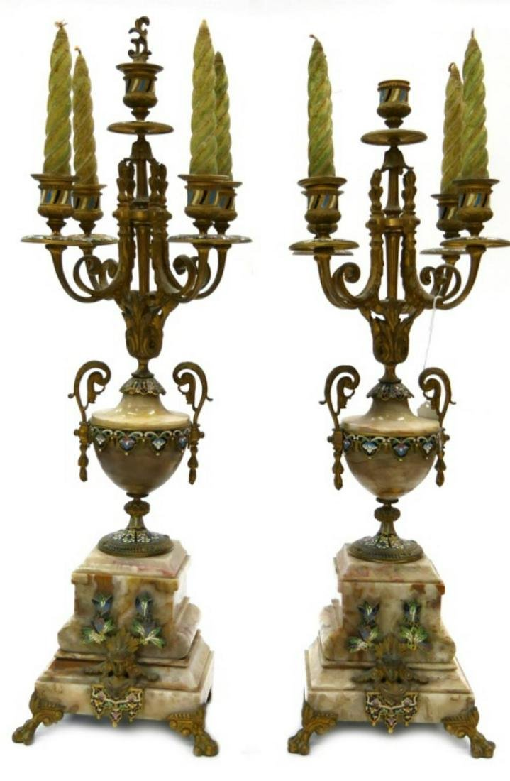 Pr ANTIQUE FRENCH GILT BRONZE CLOISONNE CANDELABRA