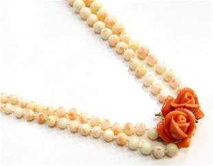 CHINESE ANGLEL SKIN CORAL & 14KT Y.G. NECKLACE