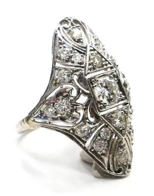 LARGE ORIGINAL DIAMOND DECO & PLATINUM LADIES RING