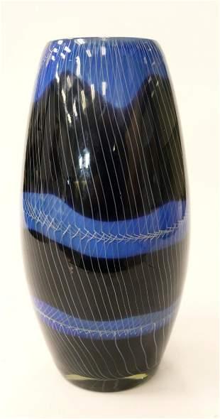 SIGNED VENINI BLUE CASED HEAVY MURANO VASE 1950