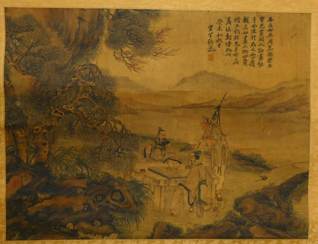 QING CHINESE WISE MEN WATERCOLOR ON SILK SCROLL