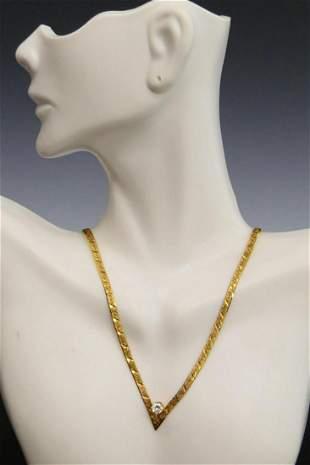 ESTATE 14KT Y GOLD 25CT LADIES DIAMOND NECKLACE