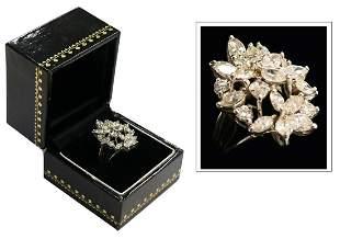 IMPORTANT 4 12 CT DIAMOND ESTATE COCKTAIL RING