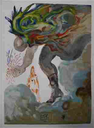 SALVADOR DALI THE GIANTS WOODBLOCK SIGNED