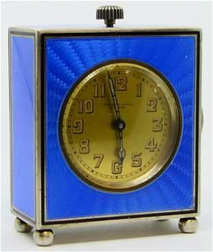 SMALL SILVER GUILLOCHE FRESARD DESK CLOCK