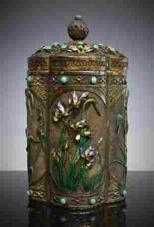 CHINESE ENAMELED FILIGREE SILVER COVERED TEA CADDY