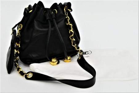 CHANEL BLACK LAMBSKIN BUCKET BAG LIKE NEW