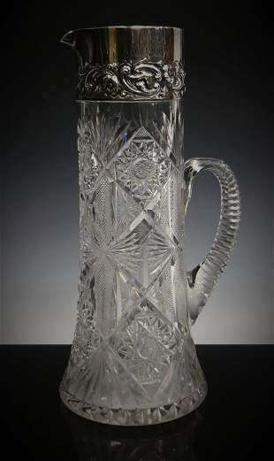 DOMINIC HAFF ANTIQUE STERLING CRYSTAL TANKARD
