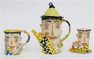 RARE PINA ZATCEVA 3 PIECE COFFEE SET RUSSIAN 1957