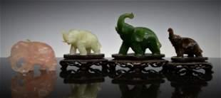 4 CHINESE CARVED MULTISTONE ELEPHANT FIGURES