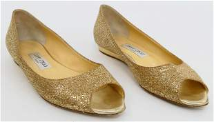 JIMMY CHOO OPEN TOE LOAFERS WITH SEQUINS