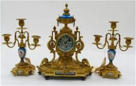 3pc H&F PARIS SEVRES GILT BRONZE CLOCK GARNITURE