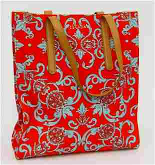 ESCADA RED TOTE CANVAS AND LEATHER TOTE