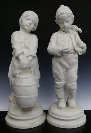 A PAIR LARGE FRENCH 19TH CENTURY BISQUE FIGURALS