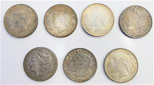 COLLECTION OF 7 ANTIQUE US SILVER DOLLARS