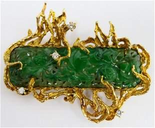CHINESE INCREDIBLE JADEITE GOLD DIAMOND LG. BROOCH