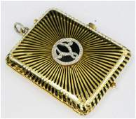 CARTIER VTG 18KT Y GOLD ENAMEL MINAUDIER LOCKET