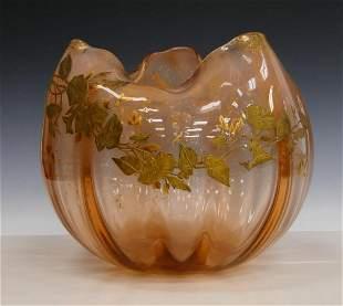DAUM NANCY FRENCH GOLD GILT ART GLASS VASE SIGNED