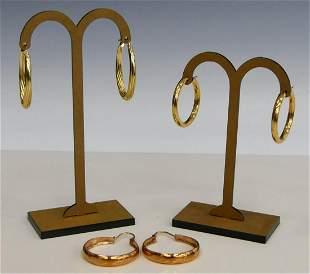 3 SETS OF 14KT GOLD HOOP EARRINGS