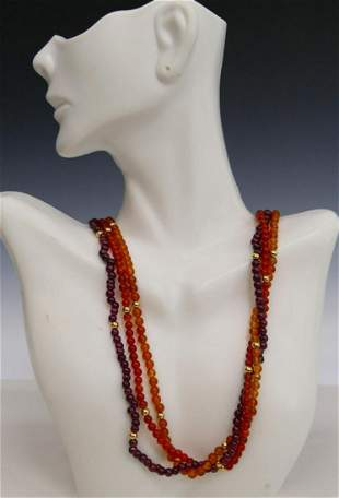 CHINESE CARNELIAN AMETYHST NECKLACES 14KT Y GOLD