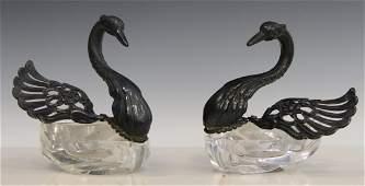 Pr CONTINENTAL SILVERPLATE GLASS SWAN SALT CELLARS