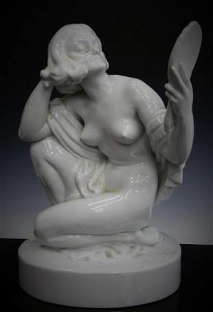 HUGE HEREND FIGURINE OF THE NUDE WITH MIRROR