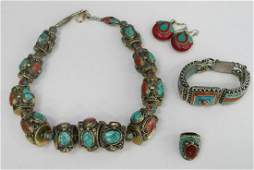 LARGE TURQUOISE & RED CORAL PARURE JEWELRY SET
