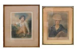 ELIZABETH GULLAND UK 18571934 2 MEZZOTINTS