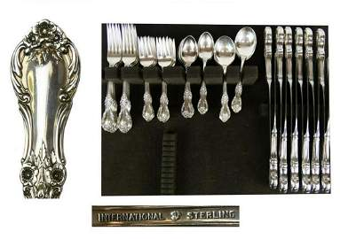60pc INTERNATIONAL .925 WILD ROSE FLATWARE 71 OZT