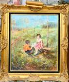 SIGNED GOYA OIL PAINTING ON CANVAS OF CHILDREN