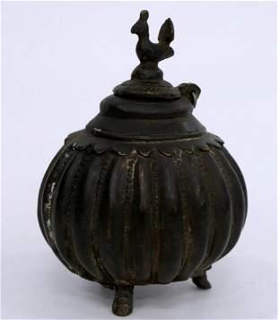 ASIAN ANTIQUE HEAVY BRONZE TEA POT ROOSTER FINIAL
