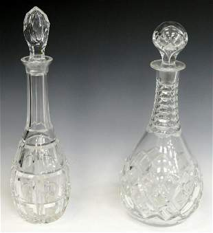 2 CUT CRYSTAL DECANTERS AND STOPPERS REXFORD VSL
