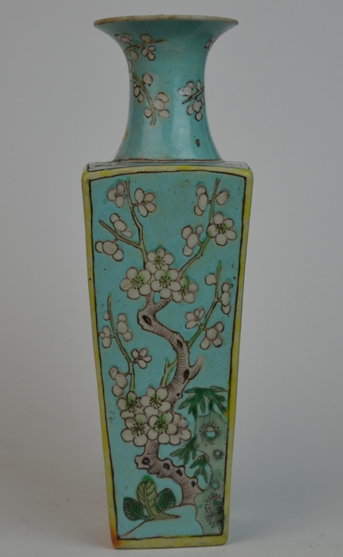 CHINESE TURQUOISE GROUND PEONY BLOOMS SQUARE VASE