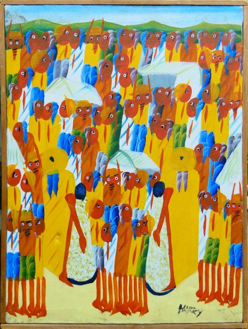 SIGNED MARKY HAITIAN OIL PAINTING ON CANVAS