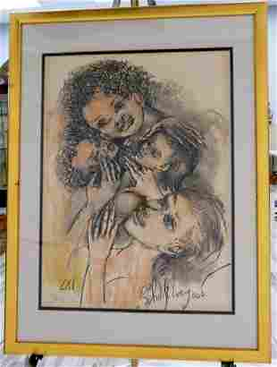 PHILIP EVERGOOD FRAMED LITHOGRAPH OF THE 2 MOTHERS