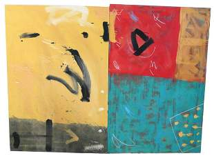 2 LARGE ABSTRACT OIL ON CANVAS 1980S WALL SIZE