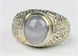 GENTS 14K W GOLD CABOCHON BLUE STAR SAPPHIRE RING