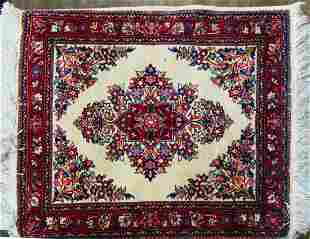 PERSIAN IRANIAN HAND WOVEN FLORAL WOOL SMALL RUG