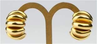 14 KT YELLOW GOLD SHRIMP STYLE HEAVY LG EARRINGS