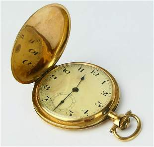 14 KT YELLOW GOLD ANCRE POCKET WATCH