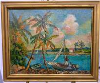 BEANIE BACKUS (USA 1906-1990) OIL PAINTING /CANVAS