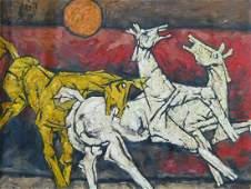 M F HUSAIN (INDIA 1913-2011) HORSES OIL ON CANVAS