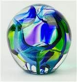SIGNED CONTEMPORARY STUDIO ART GLASS PAPERWEIGHT