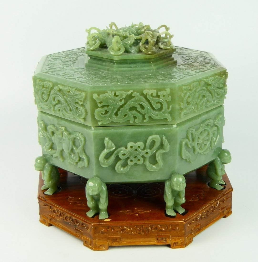 IMPRESSIVE CHINESE GREEN JADE DIVIDED COV'D BOX